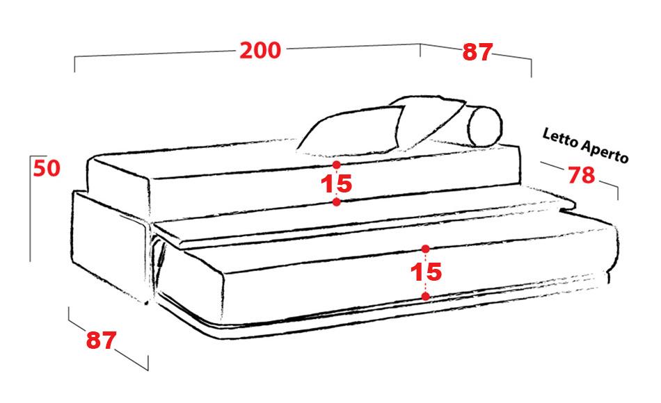 divano letto con secondo letto a scomparsa || dormicomodo