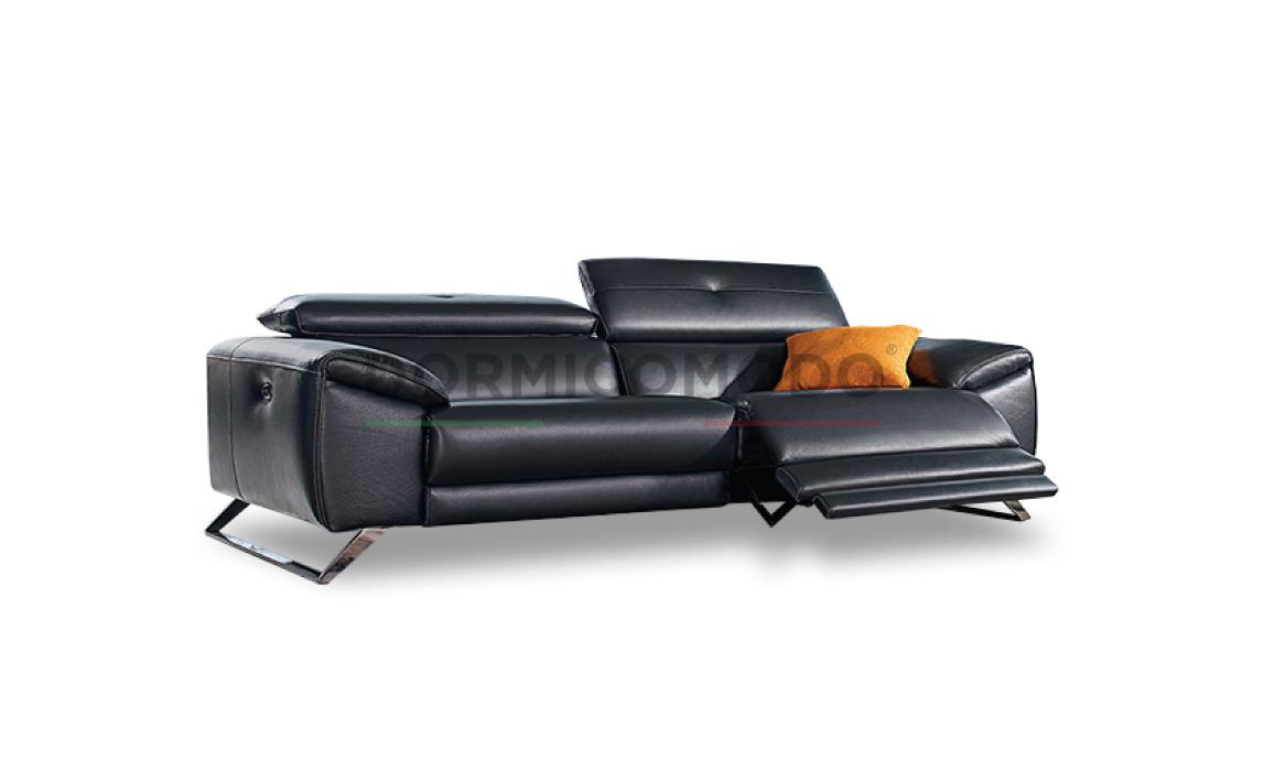 Divano relax 3 posti in vera pelle D8000R3